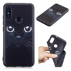 Bearded Feline 3D Embossed Relief Black TPU Cell Phone Back Cover for Xiaomi Mi A2 Lite (Redmi 6 Pro)