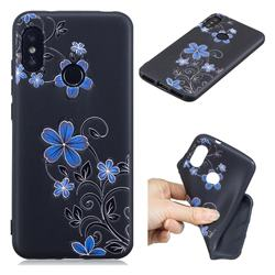Little Blue Flowers 3D Embossed Relief Black TPU Cell Phone Back Cover for Xiaomi Mi A2 Lite (Redmi 6 Pro)