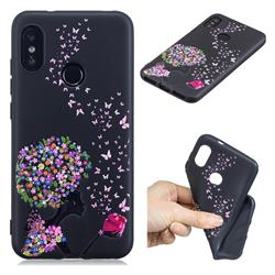 Corolla Girl 3D Embossed Relief Black TPU Cell Phone Back Cover for Xiaomi Mi A2 Lite (Redmi 6 Pro)