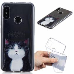 Cat Say No Clear Varnish Soft Phone Back Cover for Xiaomi Mi A2 Lite (Redmi 6 Pro)