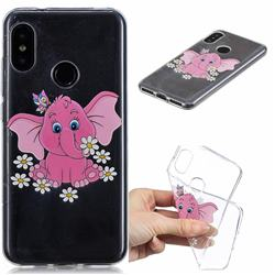 Tiny Pink Elephant Clear Varnish Soft Phone Back Cover for Xiaomi Mi A2 Lite (Redmi 6 Pro)