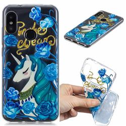 Blue Flower Unicorn Clear Varnish Soft Phone Back Cover for Xiaomi Mi A2 Lite (Redmi 6 Pro)