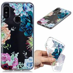 Gem Flower Clear Varnish Soft Phone Back Cover for Xiaomi Mi A2 Lite (Redmi 6 Pro)
