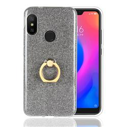 Luxury Soft TPU Glitter Back Ring Cover with 360 Rotate Finger Holder Buckle for Xiaomi Mi A2 Lite (Redmi 6 Pro) - Black