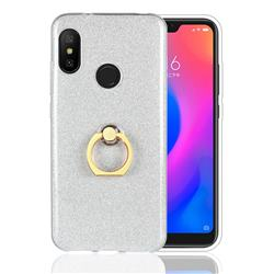 Luxury Soft TPU Glitter Back Ring Cover with 360 Rotate Finger Holder Buckle for Xiaomi Mi A2 Lite (Redmi 6 Pro) - White