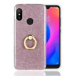 Luxury Soft TPU Glitter Back Ring Cover with 360 Rotate Finger Holder Buckle for Xiaomi Mi A2 Lite (Redmi 6 Pro) - Pink