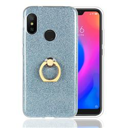 Luxury Soft TPU Glitter Back Ring Cover with 360 Rotate Finger Holder Buckle for Xiaomi Mi A2 Lite (Redmi 6 Pro) - Blue
