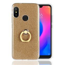 Luxury Soft TPU Glitter Back Ring Cover with 360 Rotate Finger Holder Buckle for Xiaomi Mi A2 Lite (Redmi 6 Pro) - Golden