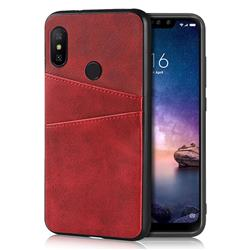 Simple Calf Card Slots Mobile Phone Back Cover for Xiaomi Mi A2 Lite (Redmi 6 Pro) - Red