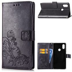 Embossing Imprint Four-Leaf Clover Leather Wallet Case for Xiaomi Mi A2 Lite (Redmi 6 Pro) - Black