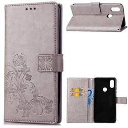 Embossing Imprint Four-Leaf Clover Leather Wallet Case for Xiaomi Mi A2 Lite (Redmi 6 Pro) - Grey