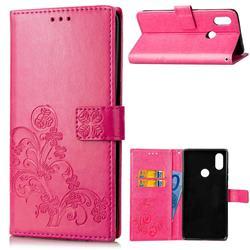 Embossing Imprint Four-Leaf Clover Leather Wallet Case for Xiaomi Mi A2 Lite (Redmi 6 Pro) - Rose