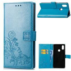 Embossing Imprint Four-Leaf Clover Leather Wallet Case for Xiaomi Mi A2 Lite (Redmi 6 Pro) - Blue