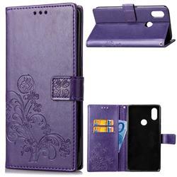 Embossing Imprint Four-Leaf Clover Leather Wallet Case for Xiaomi Mi A2 Lite (Redmi 6 Pro) - Purple