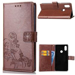 Embossing Imprint Four-Leaf Clover Leather Wallet Case for Xiaomi Mi A2 Lite (Redmi 6 Pro) - Brown
