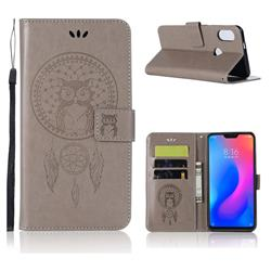 Intricate Embossing Owl Campanula Leather Wallet Case for Xiaomi Mi A2 Lite (Redmi 6 Pro) - Grey