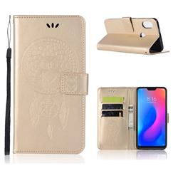 Intricate Embossing Owl Campanula Leather Wallet Case for Xiaomi Mi A2 Lite (Redmi 6 Pro) - Champagne
