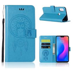 Intricate Embossing Owl Campanula Leather Wallet Case for Xiaomi Mi A2 Lite (Redmi 6 Pro) - Blue