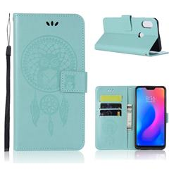 Intricate Embossing Owl Campanula Leather Wallet Case for Xiaomi Mi A2 Lite (Redmi 6 Pro) - Green