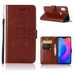 Intricate Embossing Owl Campanula Leather Wallet Case for Xiaomi Mi A2 Lite (Redmi 6 Pro) - Brown