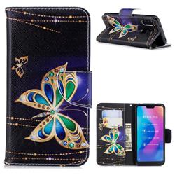 Golden Shining Butterfly Leather Wallet Case for Xiaomi Mi A2 Lite (Redmi 6 Pro)