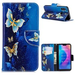 Golden Butterflies Leather Wallet Case for Xiaomi Mi A2 Lite (Redmi 6 Pro)