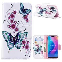 Peach Butterflies Leather Wallet Case for Xiaomi Mi A2 Lite (Redmi 6 Pro)