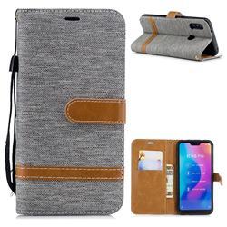 Jeans Cowboy Denim Leather Wallet Case for Xiaomi Mi A2 Lite (Redmi 6 Pro) - Gray