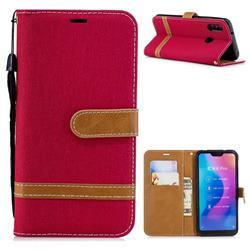 Jeans Cowboy Denim Leather Wallet Case for Xiaomi Mi A2 Lite (Redmi 6 Pro) - Red