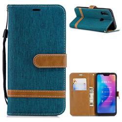 Jeans Cowboy Denim Leather Wallet Case for Xiaomi Mi A2 Lite (Redmi 6 Pro) - Green