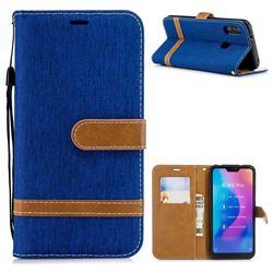 Jeans Cowboy Denim Leather Wallet Case for Xiaomi Mi A2 Lite (Redmi 6 Pro) - Sapphire