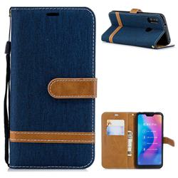 Jeans Cowboy Denim Leather Wallet Case for Xiaomi Mi A2 Lite (Redmi 6 Pro) - Dark Blue