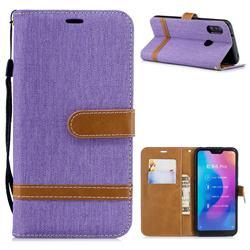 Jeans Cowboy Denim Leather Wallet Case for Xiaomi Mi A2 Lite (Redmi 6 Pro) - Purple