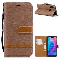 Jeans Cowboy Denim Leather Wallet Case for Xiaomi Mi A2 Lite (Redmi 6 Pro) - Brown