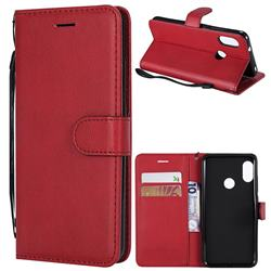 Retro Greek Classic Smooth PU Leather Wallet Phone Case for Xiaomi Mi A2 Lite (Redmi 6 Pro) - Red