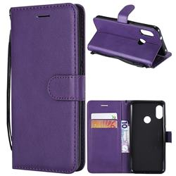Retro Greek Classic Smooth PU Leather Wallet Phone Case for Xiaomi Mi A2 Lite (Redmi 6 Pro) - Purple