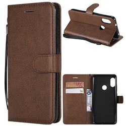 Retro Greek Classic Smooth PU Leather Wallet Phone Case for Xiaomi Mi A2 Lite (Redmi 6 Pro) - Brown