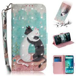 Black and White Cat 3D Painted Leather Wallet Phone Case for Xiaomi Mi A2 Lite (Redmi 6 Pro)