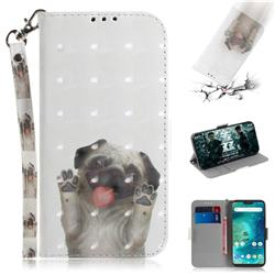 Pug Dog 3D Painted Leather Wallet Phone Case for Xiaomi Mi A2 Lite (Redmi 6 Pro)