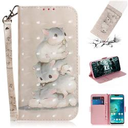 Three Squirrels 3D Painted Leather Wallet Phone Case for Xiaomi Mi A2 Lite (Redmi 6 Pro)