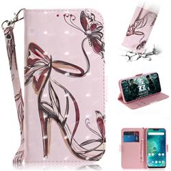 Butterfly High Heels 3D Painted Leather Wallet Phone Case for Xiaomi Mi A2 Lite (Redmi 6 Pro)