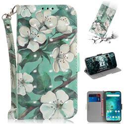 Watercolor Flower 3D Painted Leather Wallet Phone Case for Xiaomi Mi A2 Lite (Redmi 6 Pro)