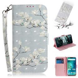 Magnolia Flower 3D Painted Leather Wallet Phone Case for Xiaomi Mi A2 Lite (Redmi 6 Pro)