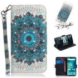 Peacock Mandala 3D Painted Leather Wallet Phone Case for Xiaomi Mi A2 Lite (Redmi 6 Pro)