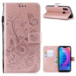 Intricate Embossing Butterfly Circle Leather Wallet Case for Xiaomi Mi A2 Lite (Redmi 6 Pro) - Rose Gold