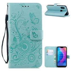 Intricate Embossing Butterfly Circle Leather Wallet Case for Xiaomi Mi A2 Lite (Redmi 6 Pro) - Cyan