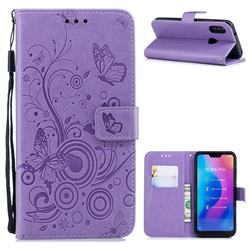 Intricate Embossing Butterfly Circle Leather Wallet Case for Xiaomi Mi A2 Lite (Redmi 6 Pro) - Purple