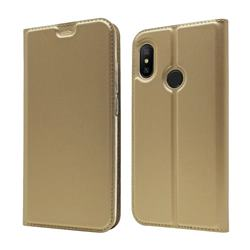 Ultra Slim Card Magnetic Automatic Suction Leather Wallet Case for Xiaomi Mi A2 Lite (Redmi 6 Pro) - Champagne