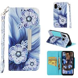 Button Flower Big Metal Buckle PU Leather Wallet Phone Case for Xiaomi Mi A2 Lite (Redmi 6 Pro)