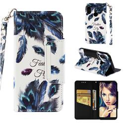 Peacock Feather Big Metal Buckle PU Leather Wallet Phone Case for Xiaomi Mi A2 Lite (Redmi 6 Pro)